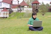 Girl with laptop — Stockfoto
