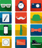 Flat Hipster Icon Set — Stock Vector