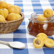 Ingredients to cook apricot jam — Stock Photo