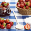 Cooking strawberry jam — Stock Photo