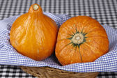 Basket of hokkaido pumpkins — Stock Photo