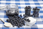 Cooking blueberry jam — Stock Photo