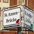 Hamburg (Germany) - Roadsign St. Annen bridge — Stock Photo