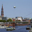 Hamburg (Germany) - Toll canal with church of St. Catherine — Stock Photo