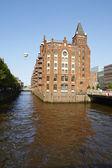 Hamburg - Fleet castle in the warehouse district — Stock Photo