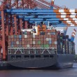 Stock Photo: Container gantry crane and containership