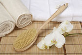 Wellness - Bath brush, rolled towels and orchids — Stock Photo