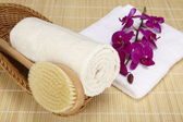 Bath brush and rolled towel in a basket — Stock Photo