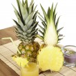 Glass of pineapple juice and pineapple — Stock Photo #40459227