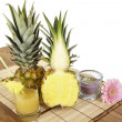 Stock Photo: Glass of pineapple juice and pineapple
