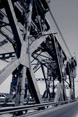 Steel construction of bridge in Dnepropetrovsk, Ukraine — Stock Photo