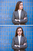 Diptych of portraits woman near the blue wall — Stock Photo