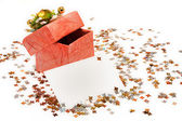 Box, confetti and card — Stock Photo
