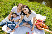Family picnic near river — Stock Photo