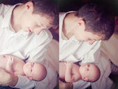 Diptych of photos father with son — Stock Photo