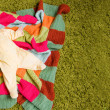 Little baby lies on colorful blanket — Stock Photo