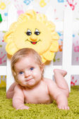 Cute baby with big blue eyes — Stock Photo
