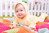 Cute little baby on blanket — Stock Photo