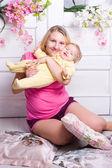 Mother hugs child — Stock Photo