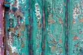Green cracky grunge door — Stock Photo