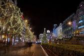 Night Prague. Parizska Street — Zdjęcie stockowe
