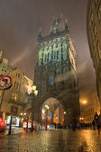 Night Prague. Old City Tower — Stock Photo