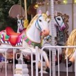 Empty carousel horses — Stock Video
