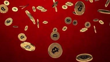 Bitcoin rain on red — Stock Video