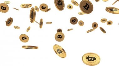 Bitcoin rain on white — Stock Video