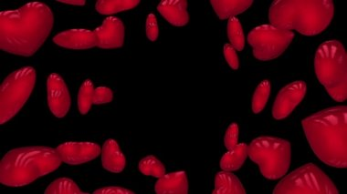 Red rotating hearts on black background. Loop with alpha. — Vidéo