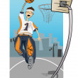 Stock Vector: Basketball player