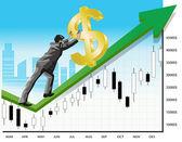 Businessman promoting money — Stock Vector