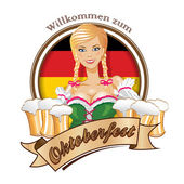 Oktoberfest logo design with the flag of Germany.Pretty blond girl with beer. — Stock Vector