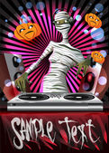 A mummy DJ is in the Halloween party. — Stock Vector