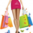 Beautiful girl with a lots of shopping bags. Vector illustration — Stock Vector