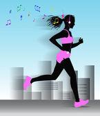 Corriendo niña corre por la ciudad y escuchar música en el reproductor. — Vector de stock