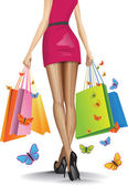 Beautiful girl with a lots of shopping bags. Vector illustration — Wektor stockowy
