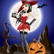Sexy witch in a red dress and stockings and hat. It stands on a background of the moon. — Stock Vector