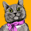 Cat with pink bow. Hand drawing vector illustration — Imagens vectoriais em stock