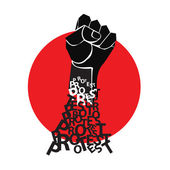 Fist in the red circle. The symbol of protest. Vector illustration. — Stock Vector