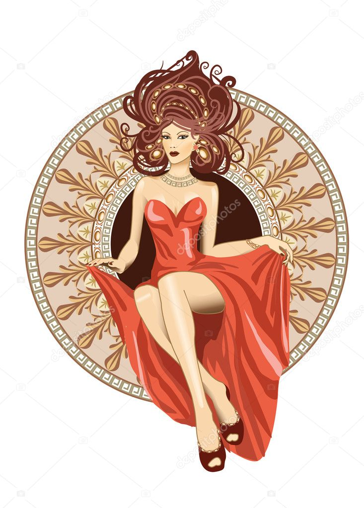 A woman in a modern style sitting in ornamental circle. Vector ...
