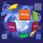 Vector conceptual business social virtual background with icon — Stock Vector