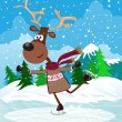 Vector card with skating deer,Christmas background. — Vektorgrafik