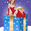 Christmas background. Sexy santa girl sitting on big gift box — Stock Vector