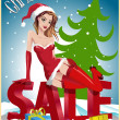 Christmas sale background with Santa pin up girl, vector Illustration — Stock Vector #36510525