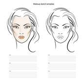 Makeup sketch template, beauty face girl. Vector illustration — Stock Vector