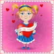 Valentine's day postcard. Cute little girl cartoons with heart. Vector illustration. — Stock Vector