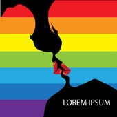 Lesbians kiss. — Stock Vector