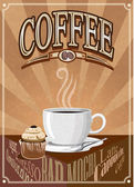 Vector vintage coffee poster — Stock Vector