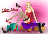 Young woman tries on shoes. vector,  background. — Stock Vector